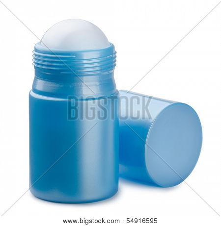 Blue compact roll on deodorant isolated on white