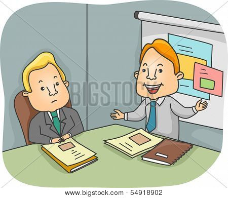 Illustration of a Man Presenting a Business Proposal