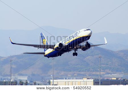 Boeing 737-800 taking off, Malaga, Spain.