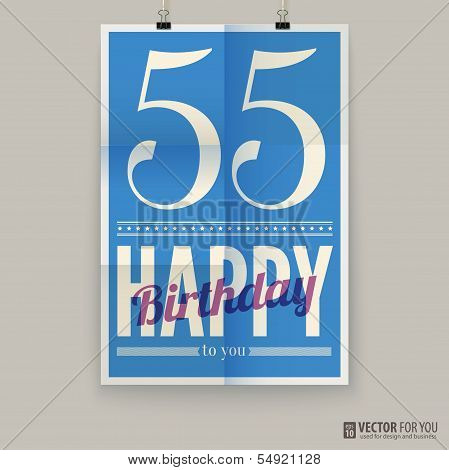 Happy birthday poster, card, fifty-five years old.