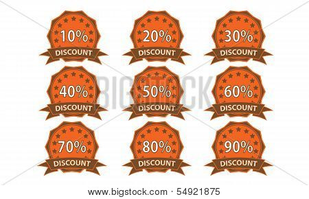 Orange-brown Discount Badge