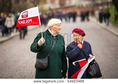 KRAKOW, POLAND - NOV 11: An unidentified participants celebrating National Independence Day an Republic of Poland, Nov 11, 2013 in Krakow, Poland. Is a public holiday, celebrated every year from 1918.