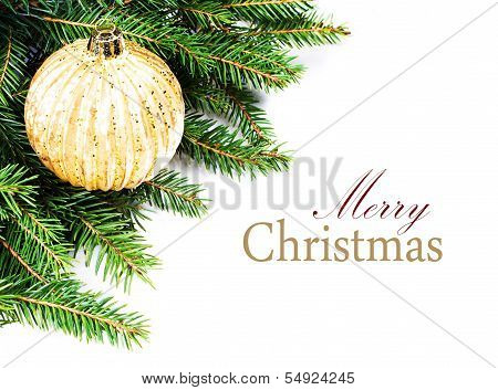 Christmas Tree Border With  Festive Ornaments Isolated On White Background With Copy Space For Text