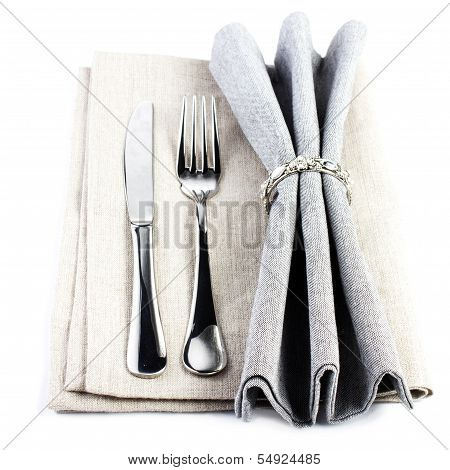 Elegant  Serving Table Setting Place In Silver And Grey Color Isolated On White Background. Linen Te