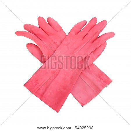 Household Protective Rubber Gloves Isolated On White Background