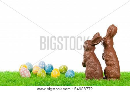 Easter Bunny Couple With Eggs