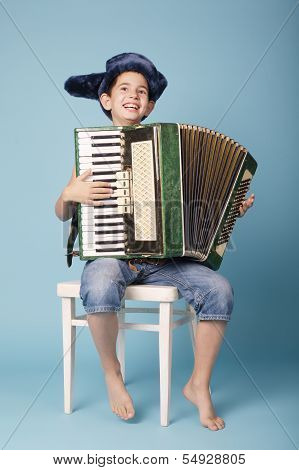 little funny accordion player