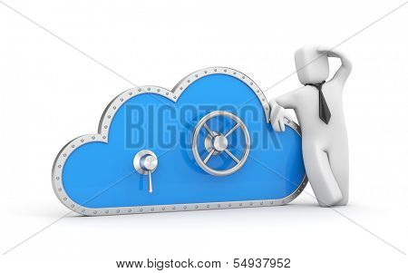 Cloud and safe lock. Secure metaphor.