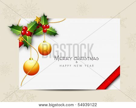 Merry Christmas celebration gift card decorated with mistletoe, golden Xmas balls and space for your message.
