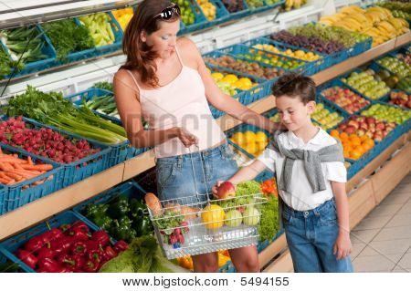 Shopping Series - Mother With Child Buying Fruit