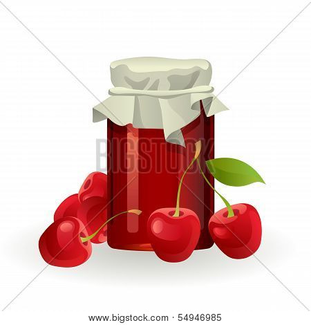 Cherry jam with fresh cherries