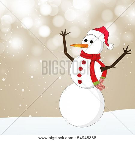 Merry Christmas celebration greeting card or invitation card with happy snowman in Santa Hat and scarf on shiny brown background.