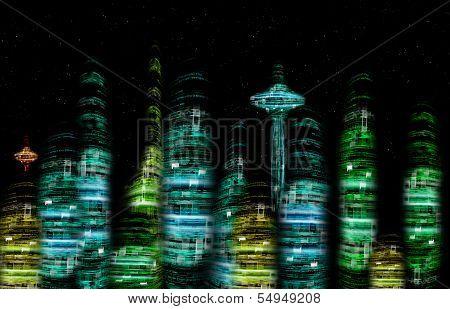 Futuristic City Nocturne Skyline