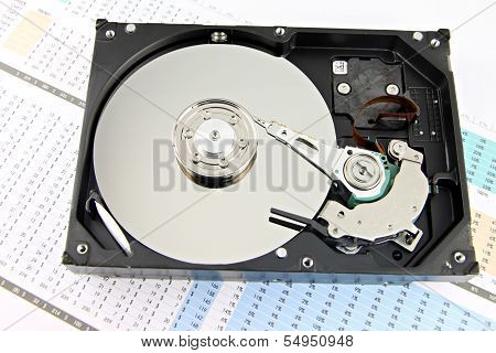 Hard Drive Open The Top Cover Off On Business Graph.