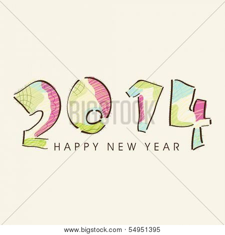 Happy New Year 2014 celebration flyer, banner, poster or invitation with stylish colorful text on abstract background.