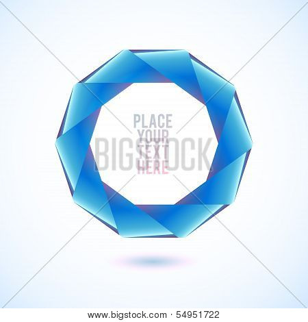 Blue decagon shape on white background