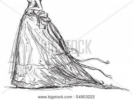 dibujo vectorial vestido nupcial