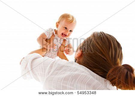 Mother Raising Her Baby