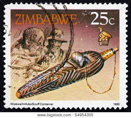 Postage Stamp Zimbabwe 1990 Snuff Box