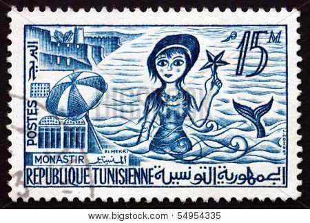 Postage Stamp Tunisia 1960 Skanes Beach, Monastir And Mermaid