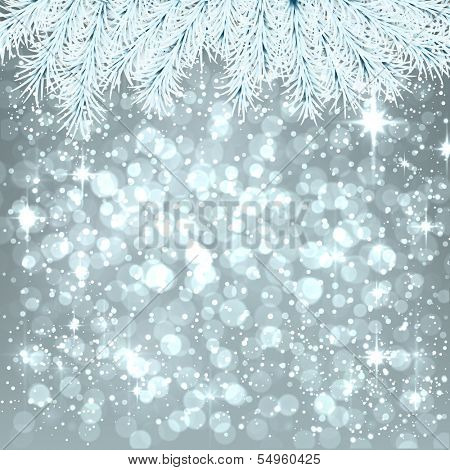 Silver winter abstract background. Christmas illustration with snowflakes and sparkles. White fir needles. Vector.