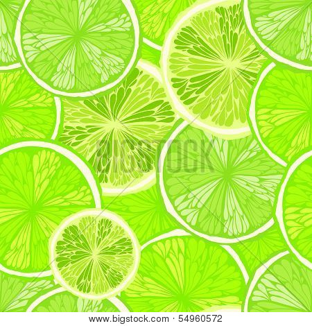 Bright Hand Drawn Seamless Background With Limes