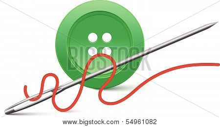 Needle and button. Vector illustration