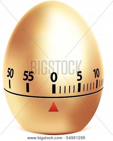 Golden egg timer isolated on white. Vector illustration