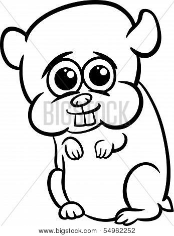 Baby Hamster Cartoon Coloring Page