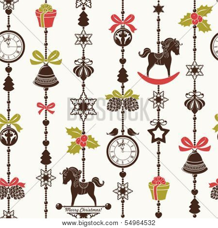 Vertical seamless Christmas pattern with holidays symbols.