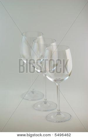 3 Empty Wine Glasses