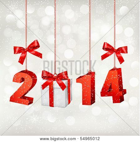 Happy new year 2014! New year design template. Raster version of vector.