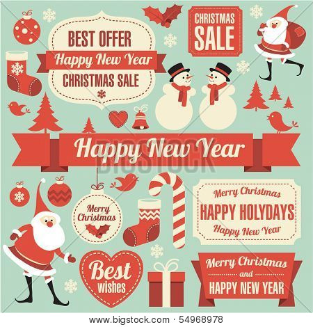 Christmas and new year retro vector design element collection.