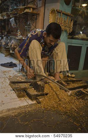 Woodturner Working