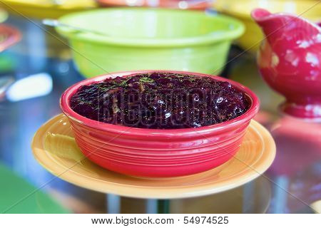 Cranberry Sauce In Red Bowl Closeup