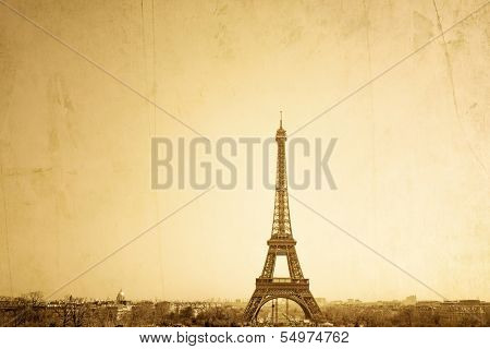 Vintage Eiffel Tower (nickname La dame de fer, the iron lady),The tower has become the most prominent symbol of both Paris and France