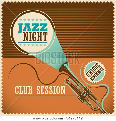Retro jazz poster. Vector illustration.