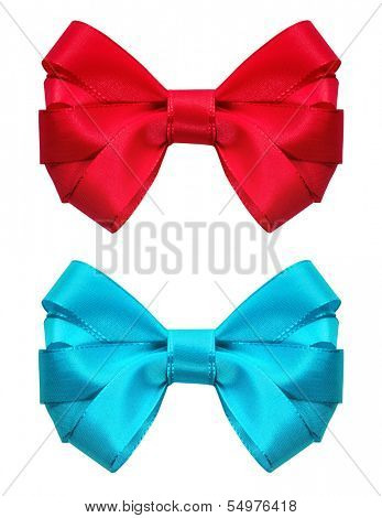 Festive red and blue bow on white background