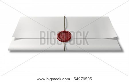 Paper With Red Wax Seal And String Front
