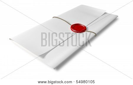 Paper With Red Wax Seal And String Perspective