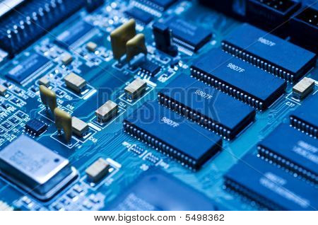 Blue Electronic Circuit Closeup