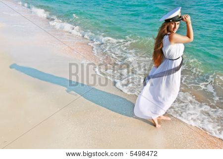 Attractive Girl On Sea Background