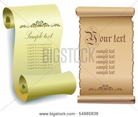 Illustration of old paper scrolls .