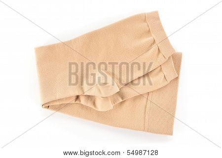 Medical Compression Stockings On White Background.