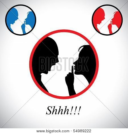 Couple Fighting Each Other With Woman Gesturing Silence - Concept Vector