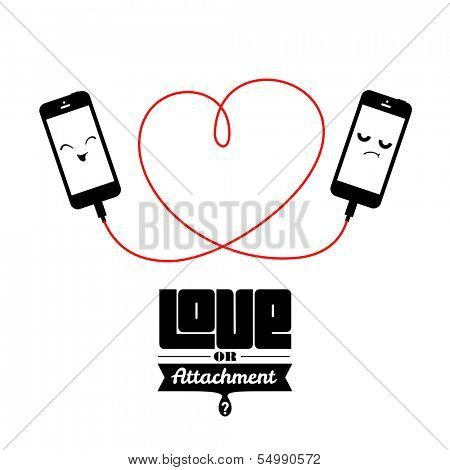 Two phones attached with cord forming heart shape