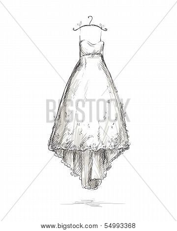 Wedding dress on a hanger, vector illustration
