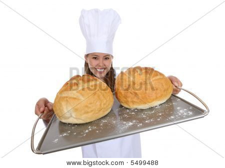Pretty Woman Chef With Bread