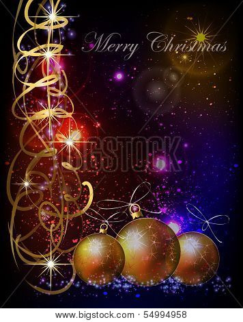 Christmas background with balls and space for tex