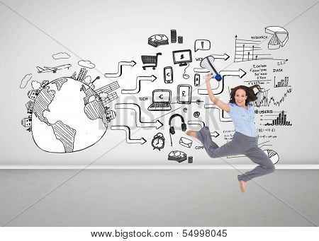 Composite image of cheerful classy businesswoman jumping while holding megaphone